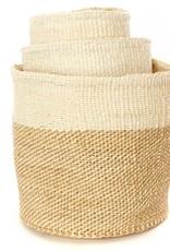 Beige Twill Sisal Basket - Medium