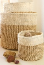 Beige Twill Sisal Basket - Large