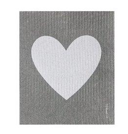 Ten and Co. Essuie-tout réutilisable - Coeur Blanc sur Gris