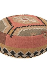 Hand-Woven Round Pouf Multi Color