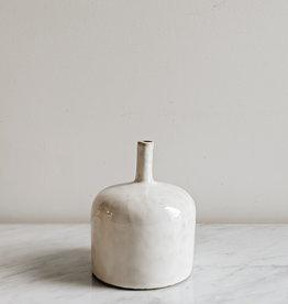 """Round Stoneware Vase Reactive Glaze White 5""""X6"""""""