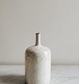 """Round Stoneware Vase - White 5"""" x9"""".5"""