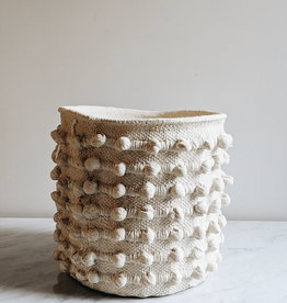 Hobnail Cement Pot White