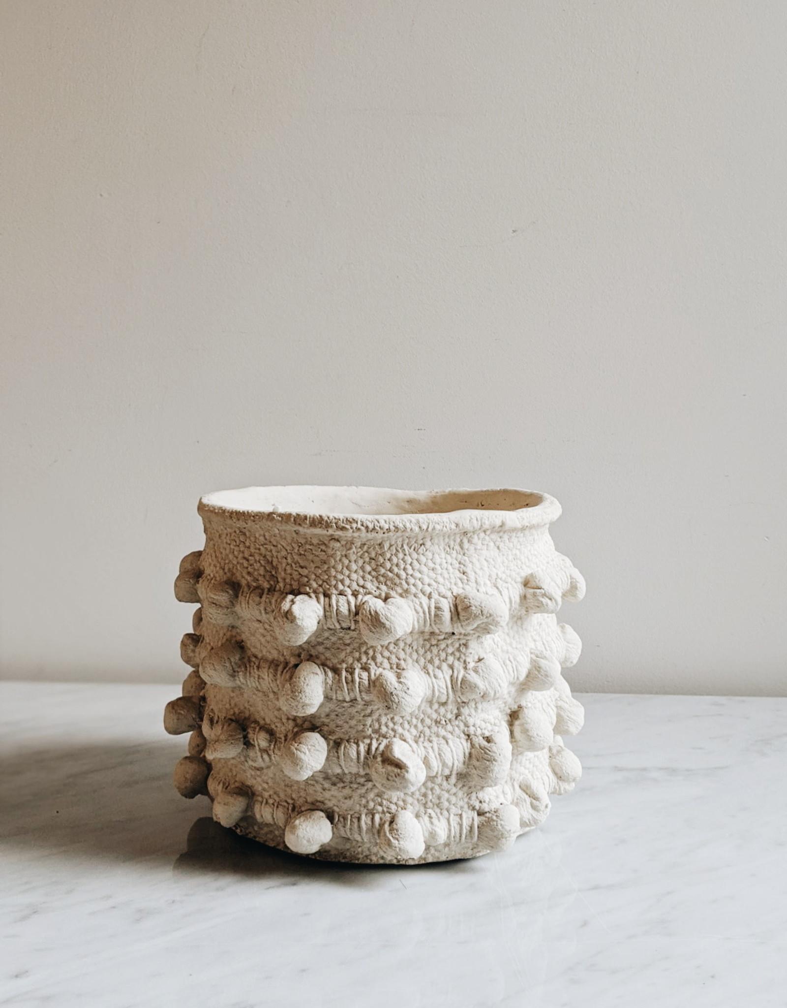 Hobnail Cement Pot White