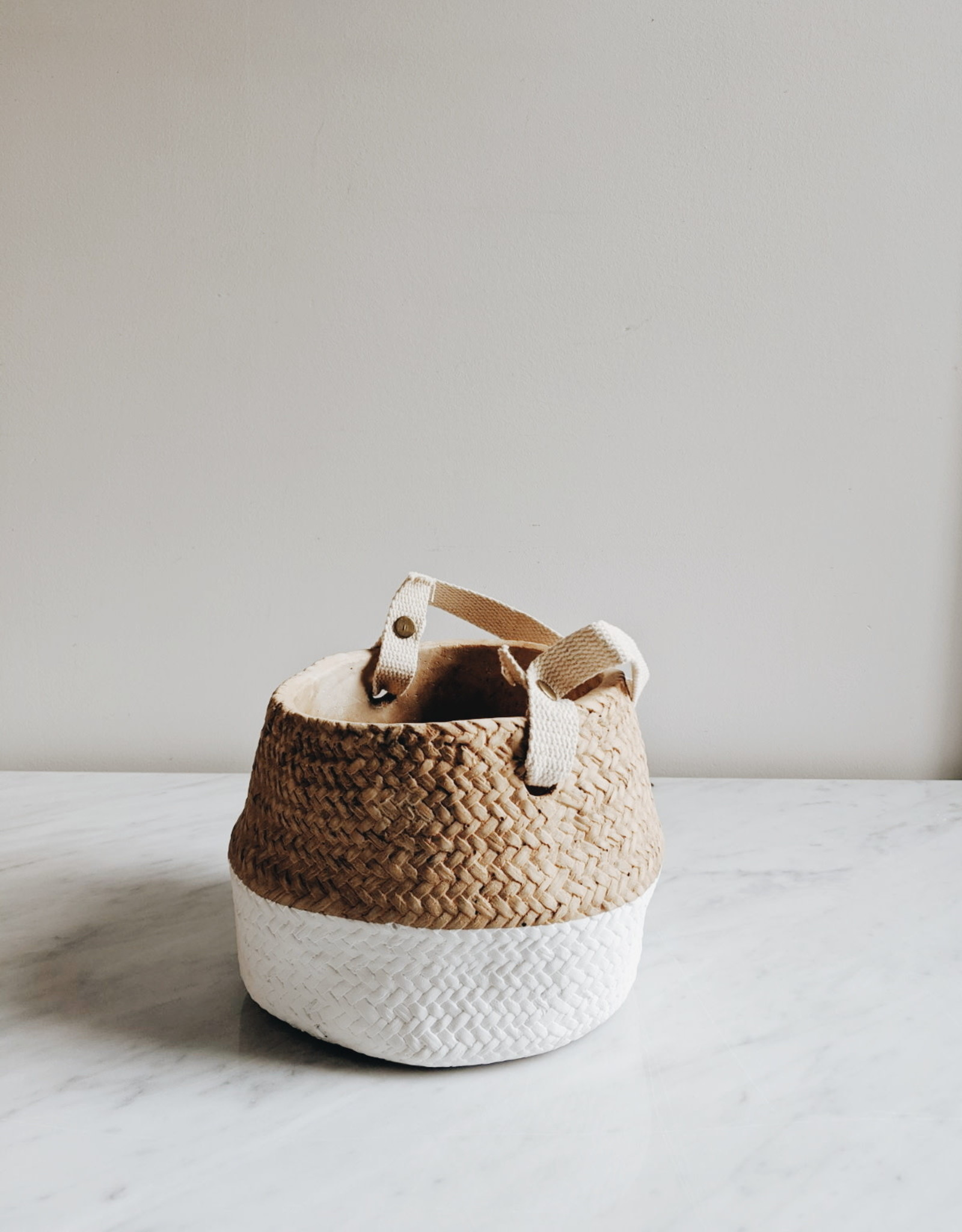 Cement Pot Two Tone With Cotton Handle