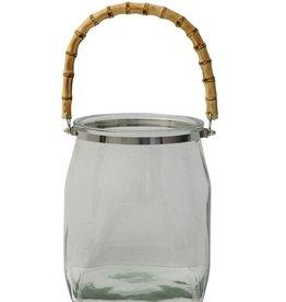 Glass Lantern w/ Bamboo Handle