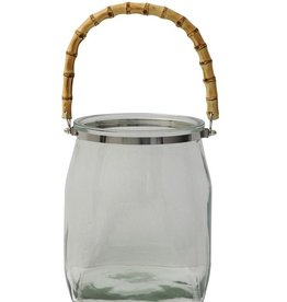 Lanterne Verre avec Poignée de Bambou