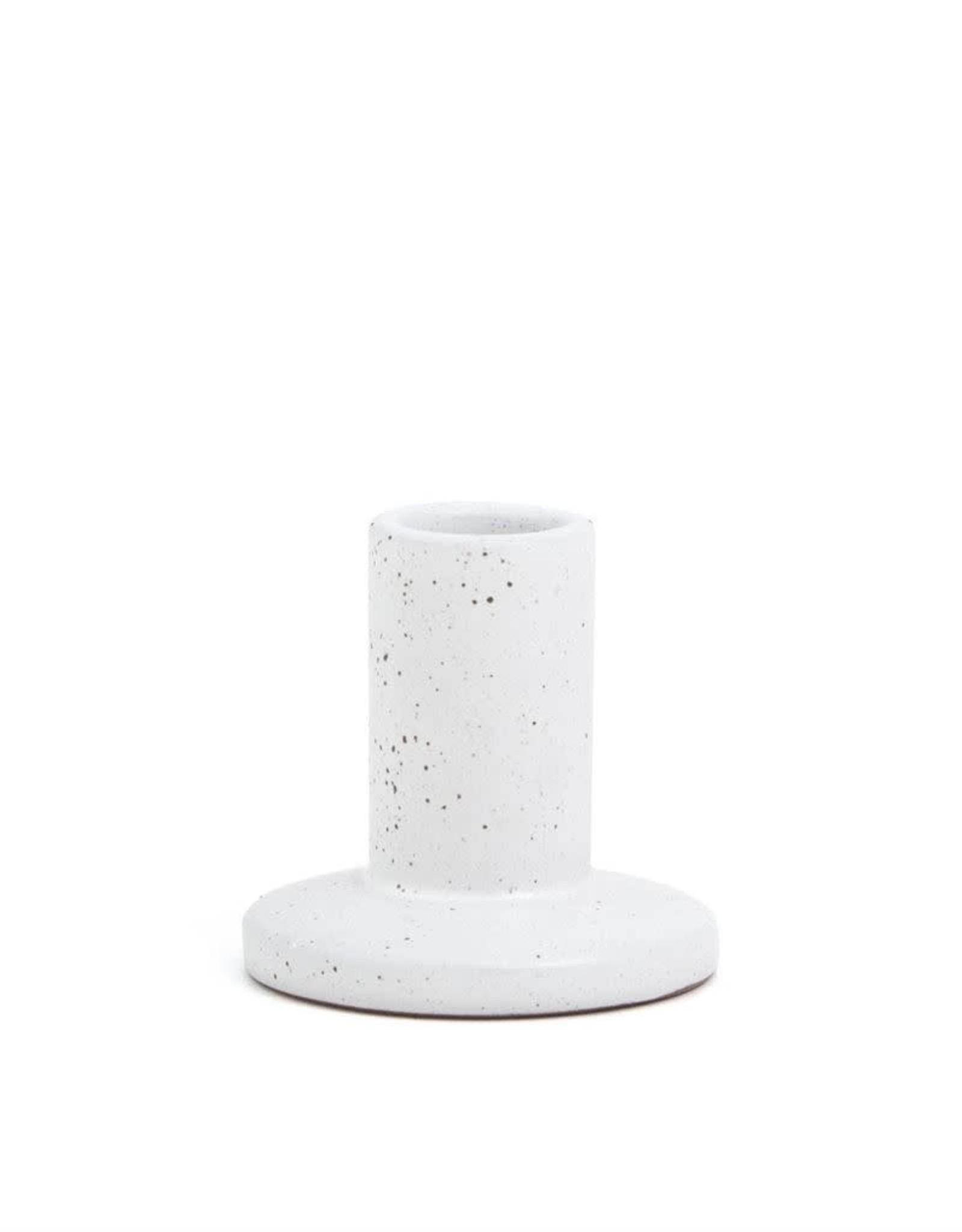 White Speckled Ceramic Taper Holder