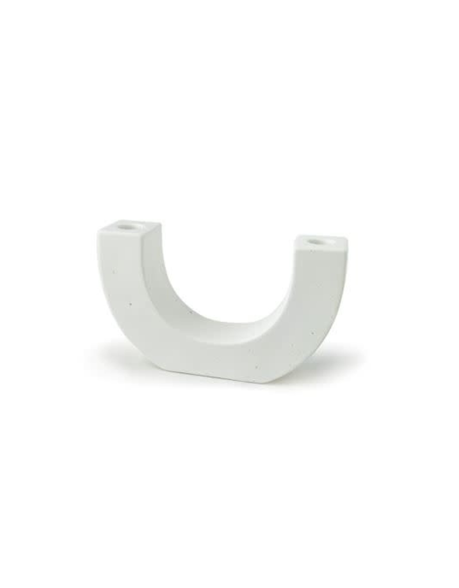 White Speckled U-Shaped Ceramic Taper Holder