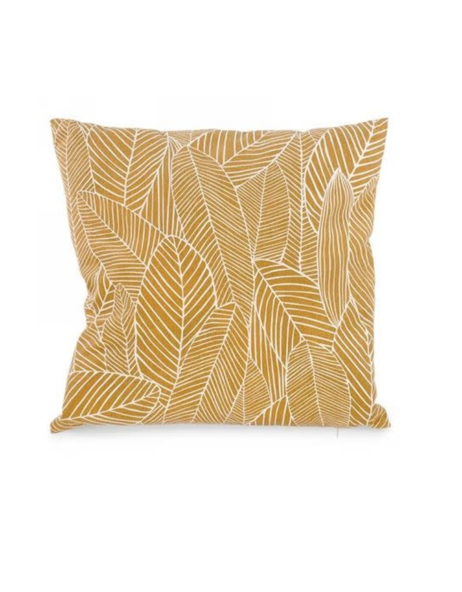 Yellow cushion with leaf pattern