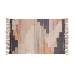 Grey & Salmon patterned carpet