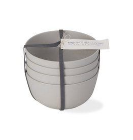 Bamboo Fiber Bowls - Set of 4 - Light Gray