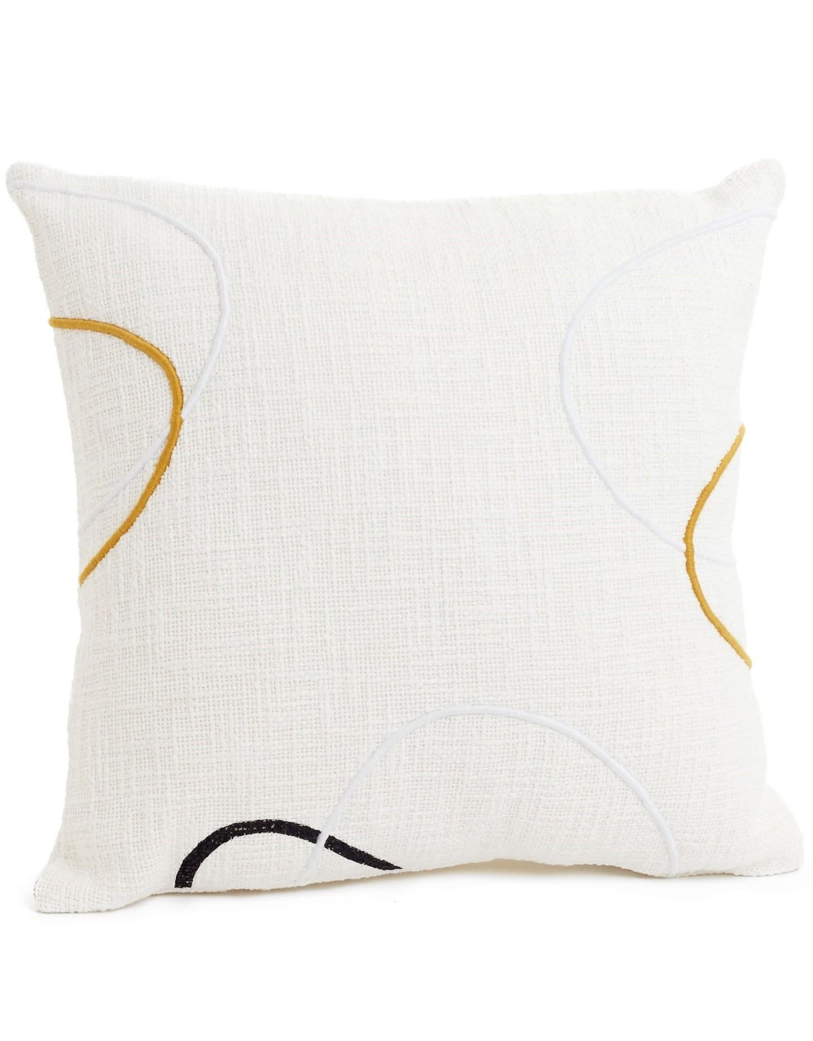 Embroidered Cushion - Ecru/Saffron/Black