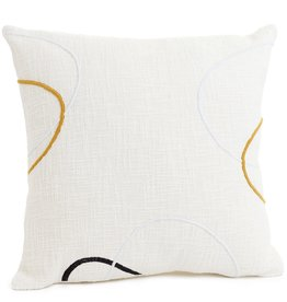 Embroidered Cushion - Ecru/Saffron/Black