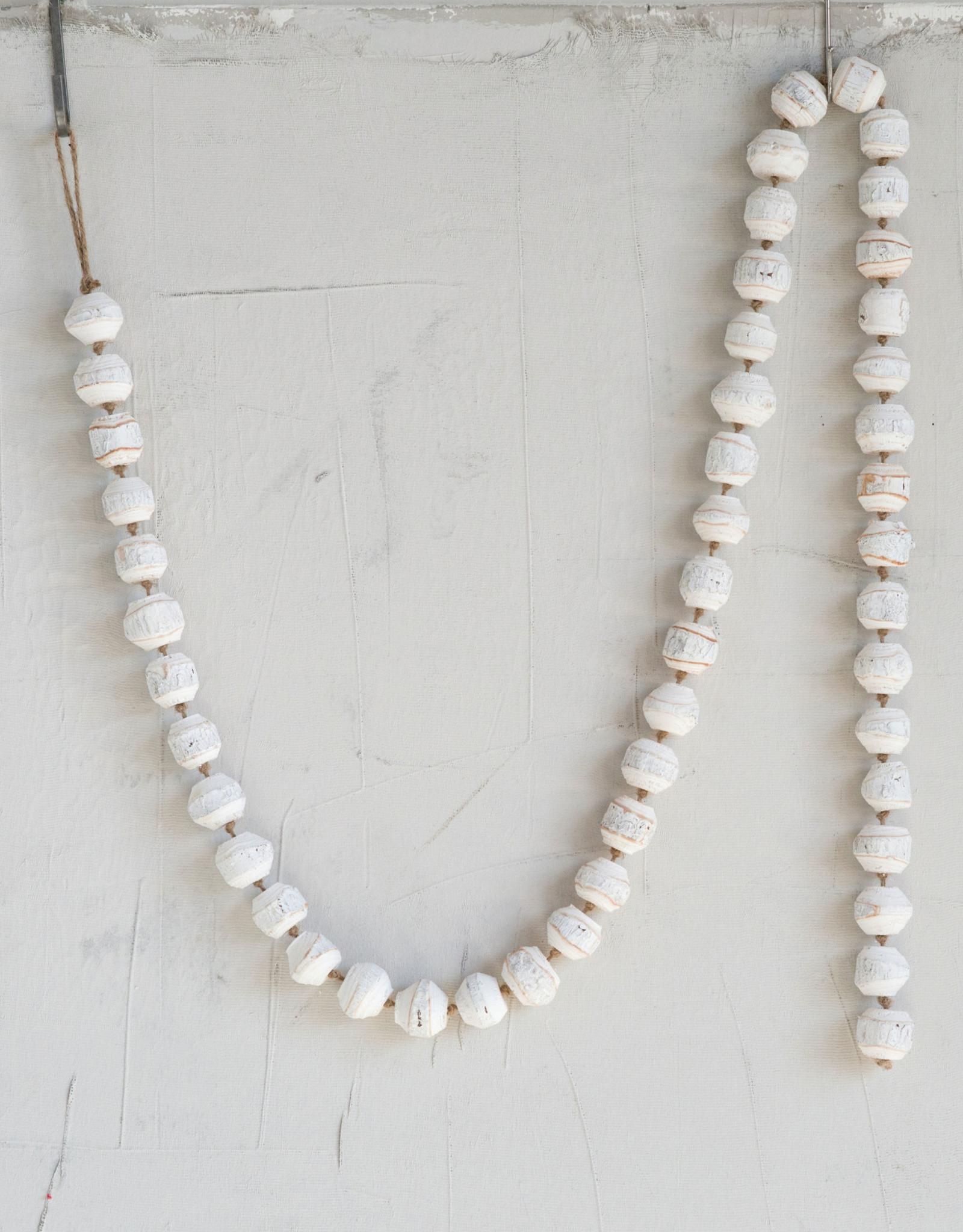 Wood Bead Garland - White