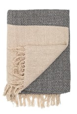 Cotton Knit Throw w/Fringe - Grey