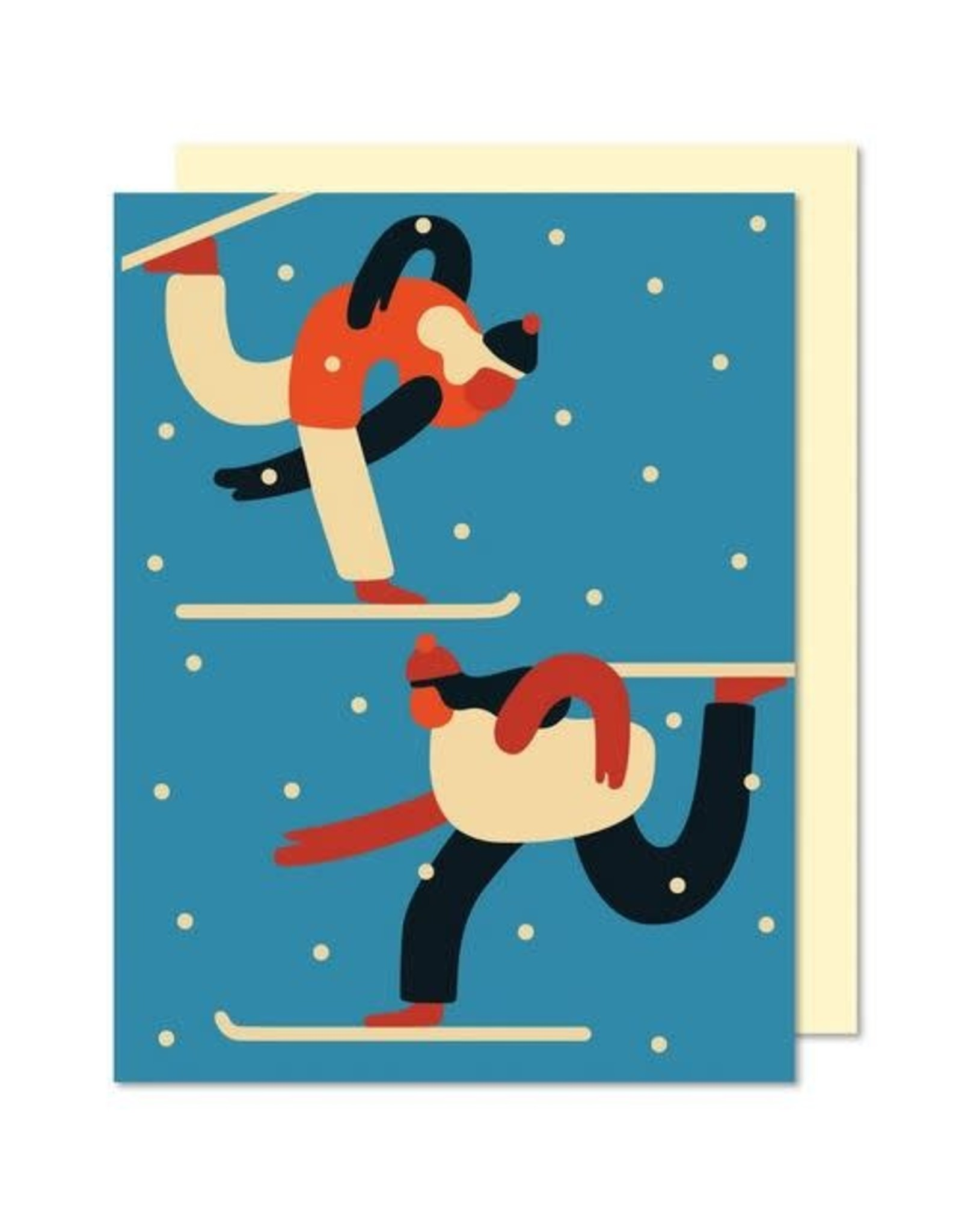 Paperole Greeting Card - Skieurs