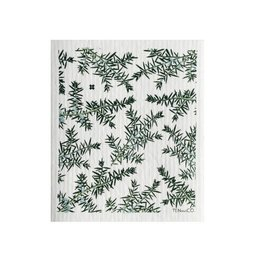 Sponge Cloth Juniper Greens - White