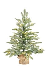 X-Mas Tree Led Green Frosted with Burlap -26''H