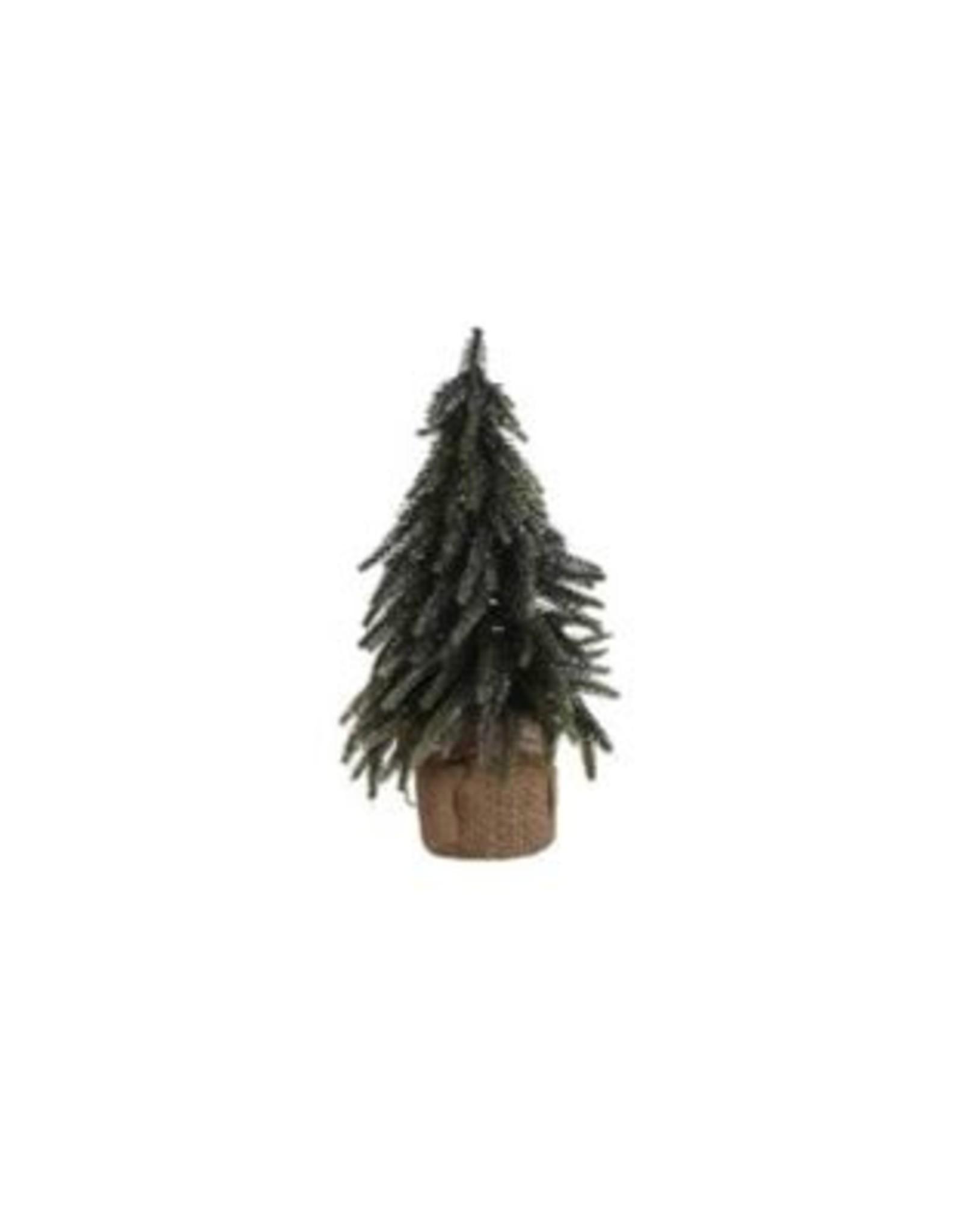 X-Mas Tree Green Glitter Silver with Burlap - 11-3/4''H