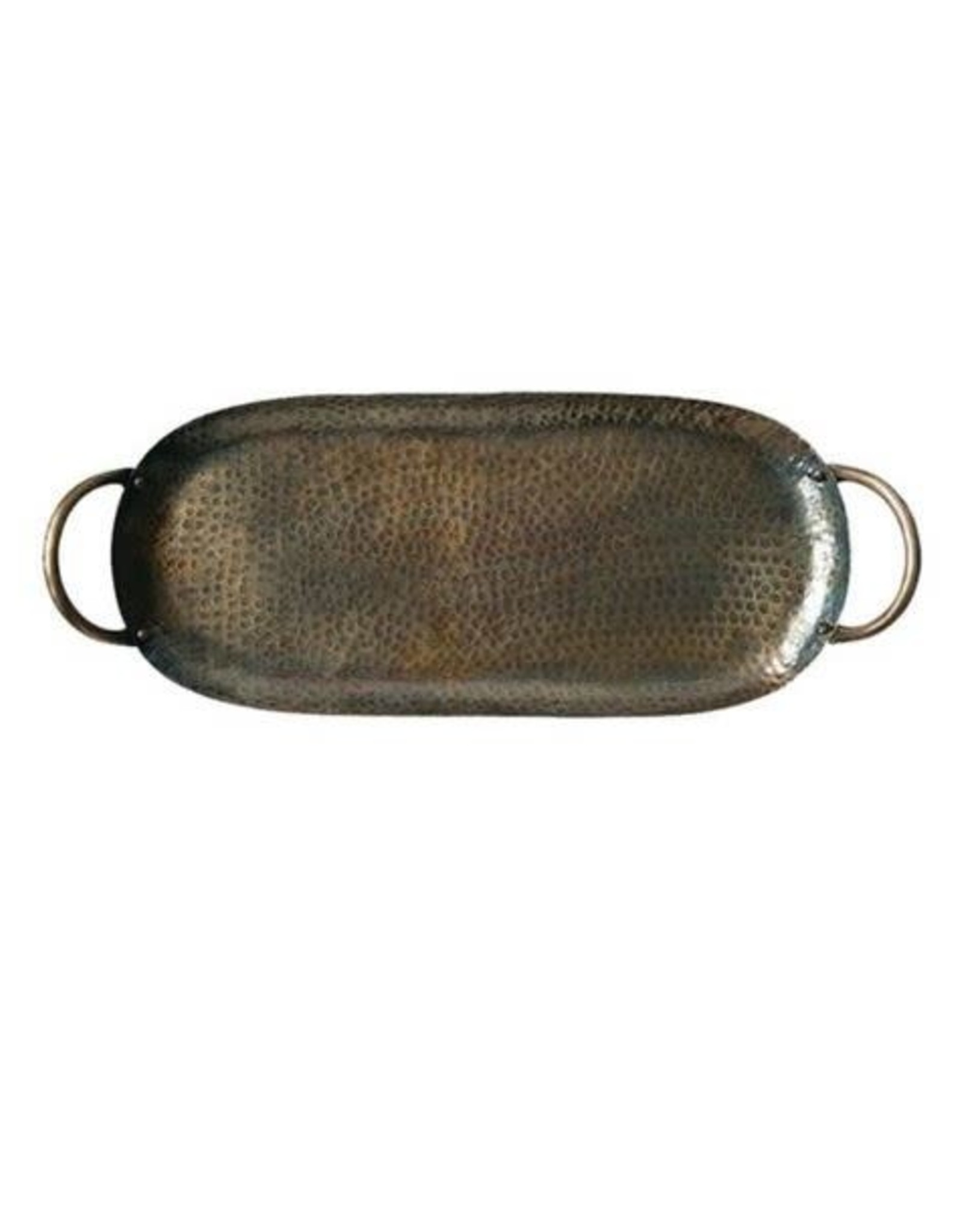 Hammered Metal Tray w/handles, Antique Brass Finish