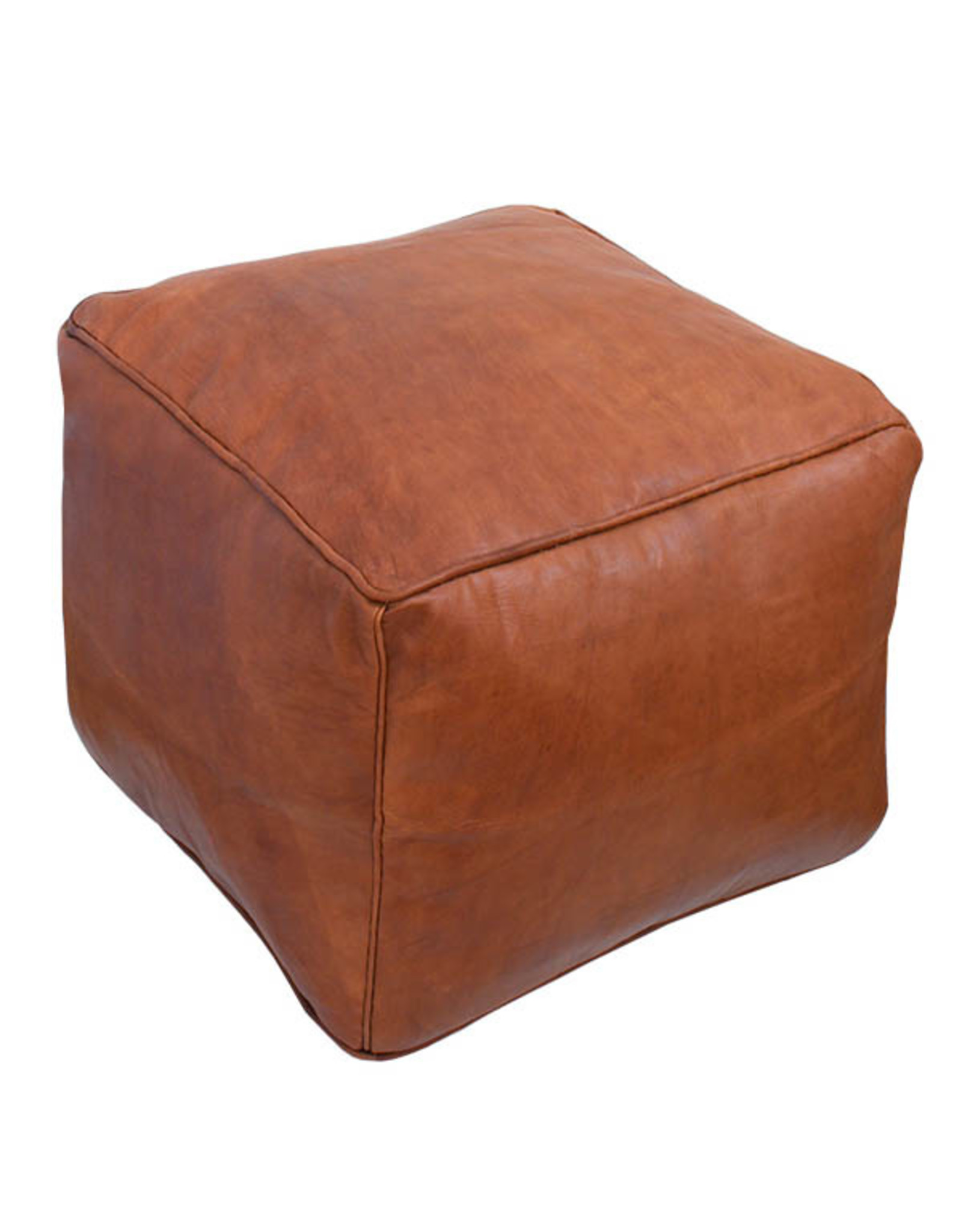 Square Leather Pouf - Cognac