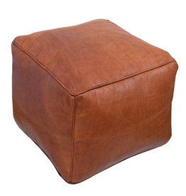 Square Leather Pouf - Cognac