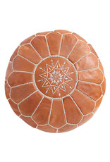 Round Leather Pouf - Light Tan
