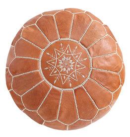 Round Leather Pouf - Light Tan