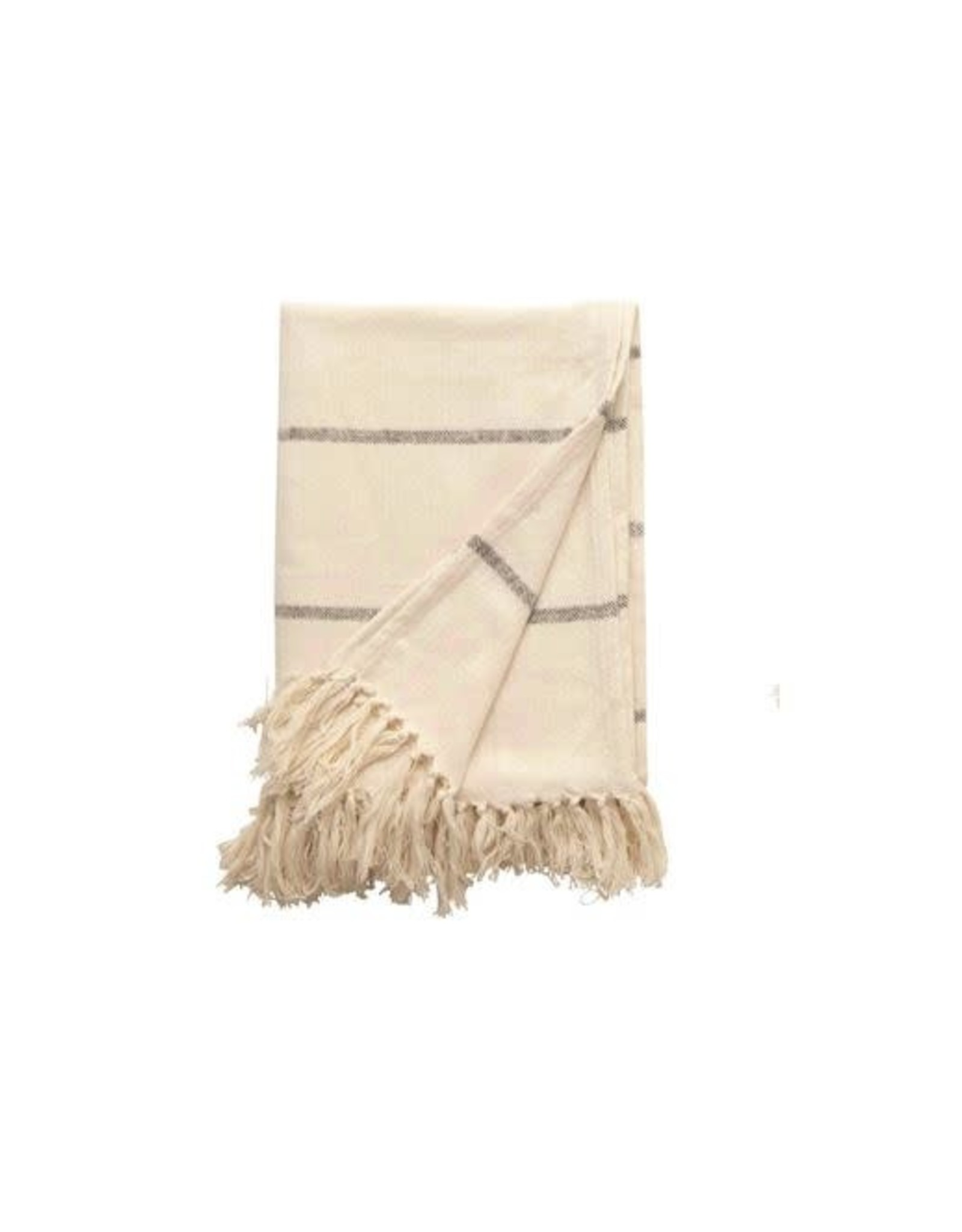 Brushed Cotton Striped Throw
