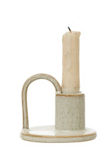 Stoneware Taper Holder w/Handle
