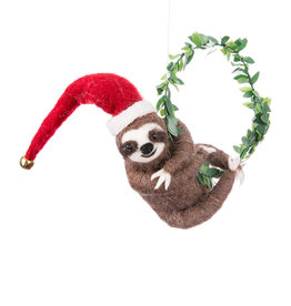 Sloth with Large Wreath Ornament
