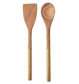 Wood Utensils with Brass Clad Handles