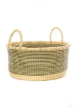 Large Floor Basket - Sage and Natural Stripes