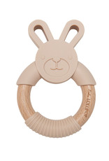 Loulou Lollipop Bunny Silicone and Wood Teething Ring - Sand