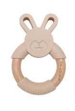 Loulou Lollipop Lapin en silicone et anneau de dentition en bois - Sable