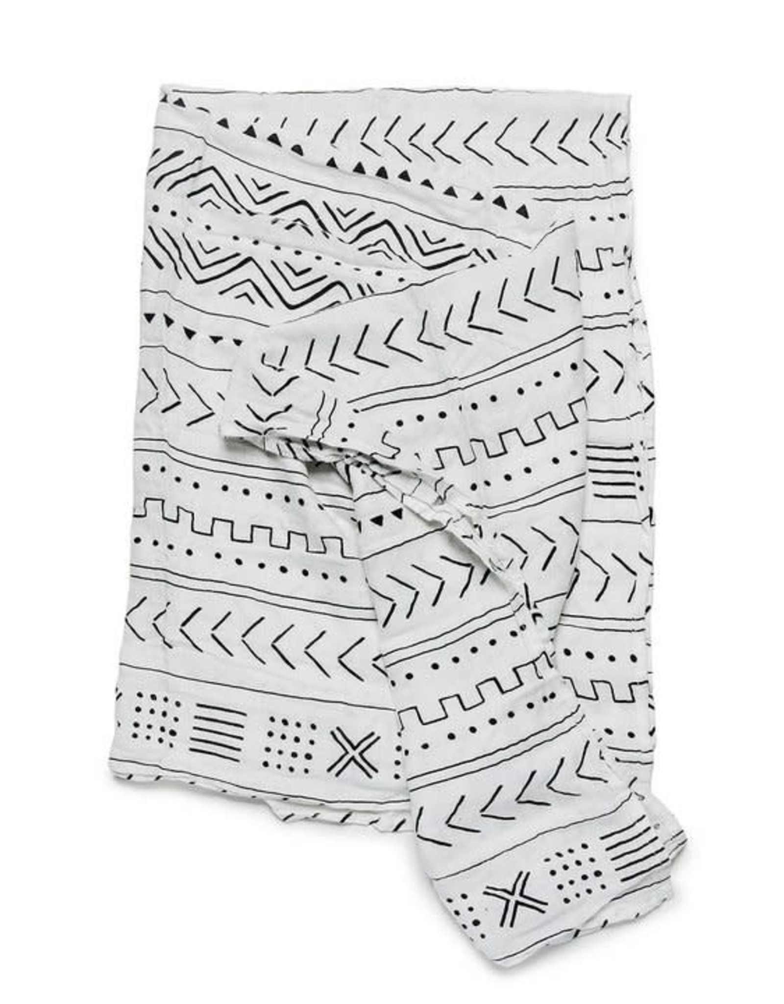 Loulou Lollipop Muslin Swaddle - White Mudcloth