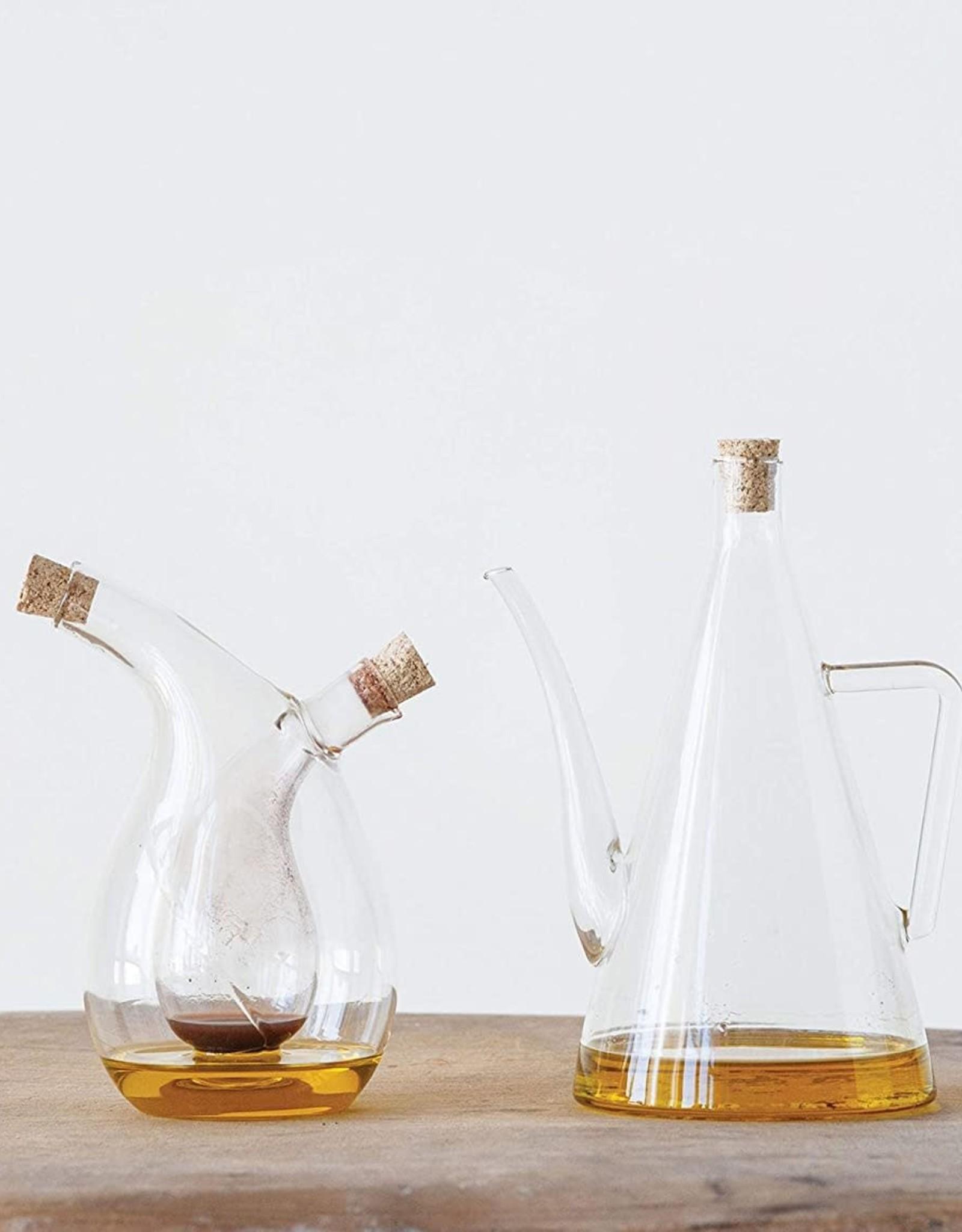 Cruet en verre pour huile et vinaigre avec liège