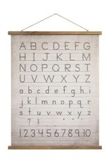 Canvas & Wood Scroll Wall Decor w Alphabet/Numbers