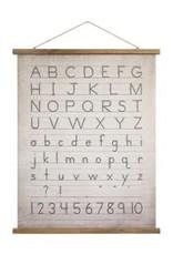 Décoration murale en toile et bois avec alphabet et chiffres