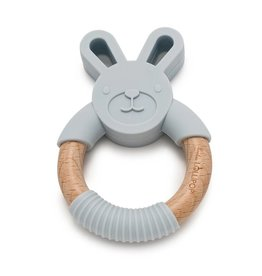 Loulou Lollipop Bunny Silicone and Wood Teething Ring - Light Gray