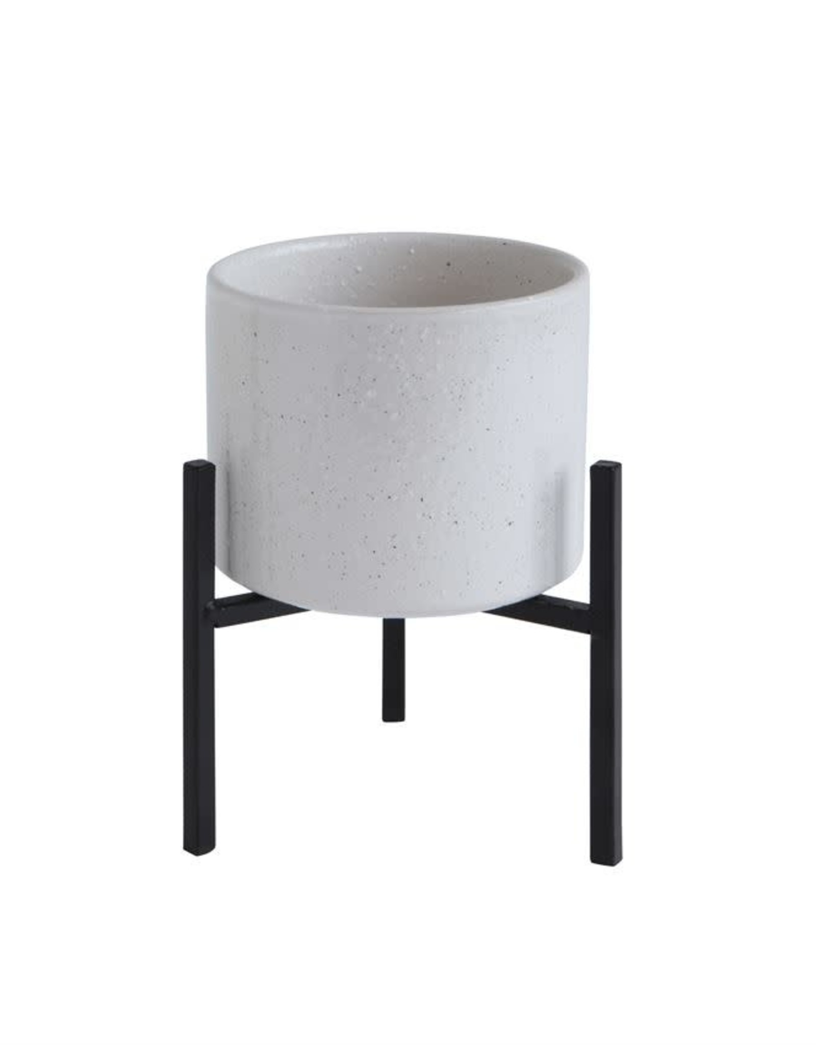 Stoneware Planter with Metal Stand