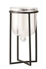Glass Planter/Candle Holder w/Black Metal Stand