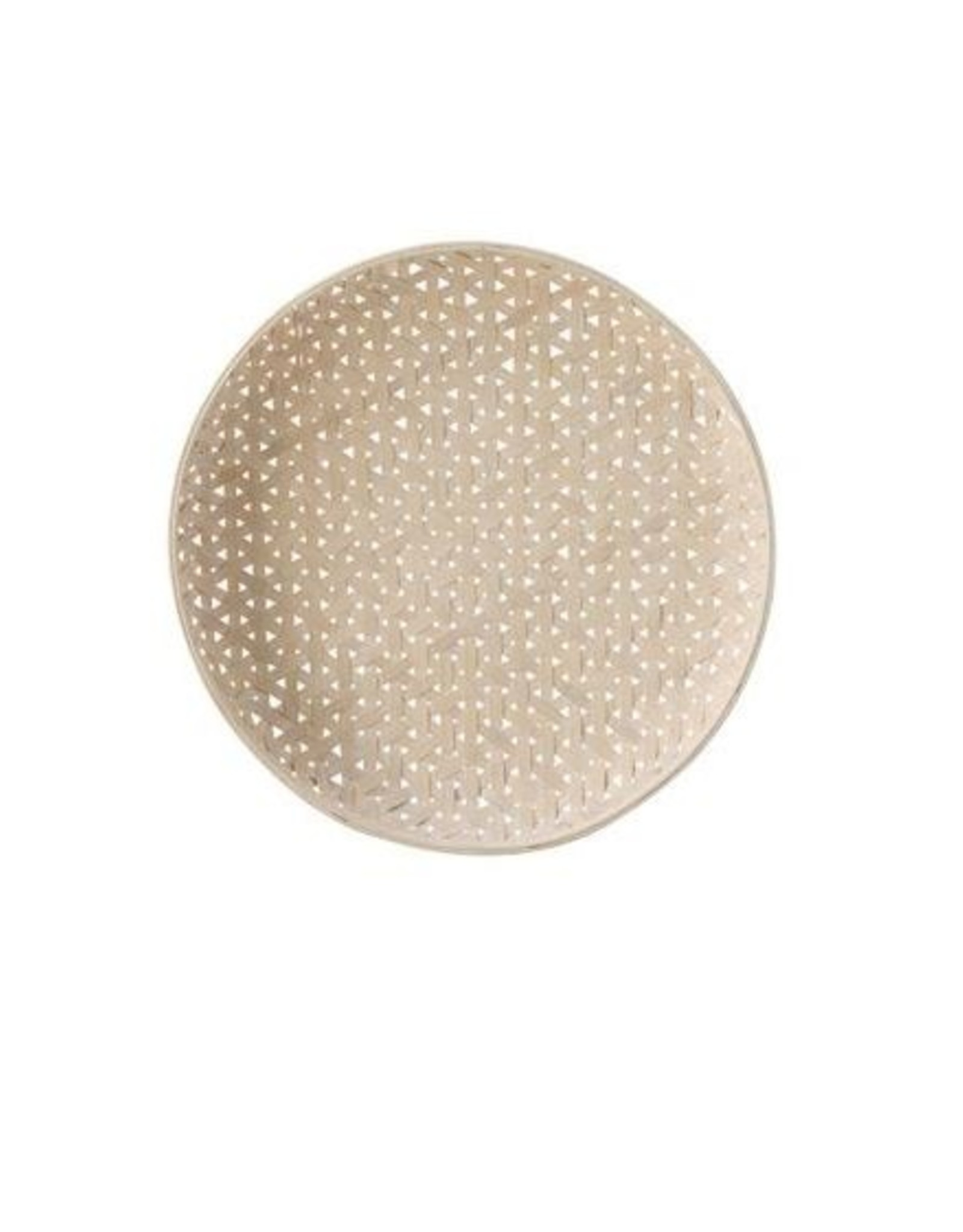 Round Woven Wood Baskets - White Washed