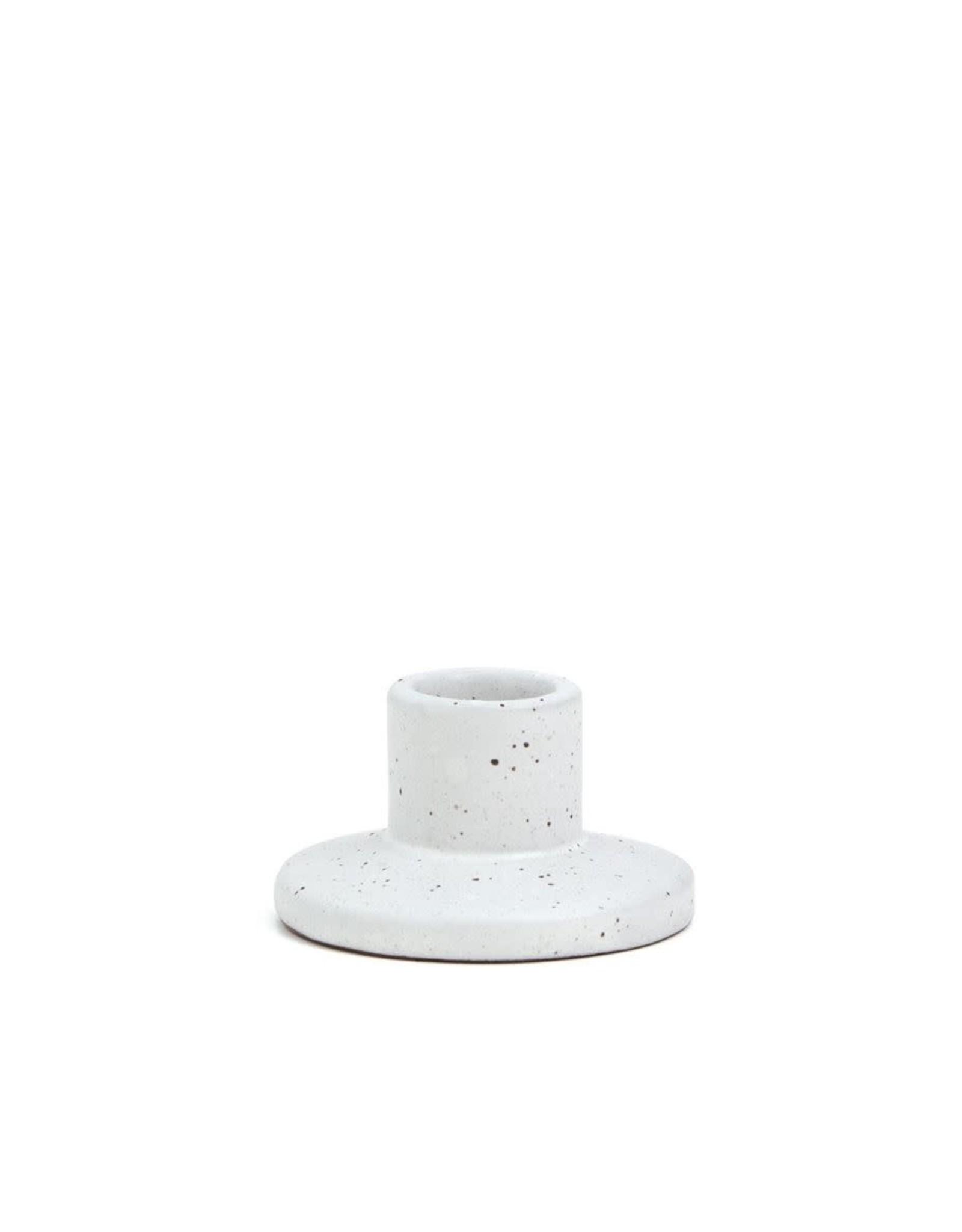 White Speckled Ceramic Taper Holder - Small