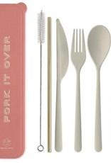 Designworks Ink Ensemble d'Ustensils Portatifs ''Fork it Over'' avec Paille Dorée - Corail