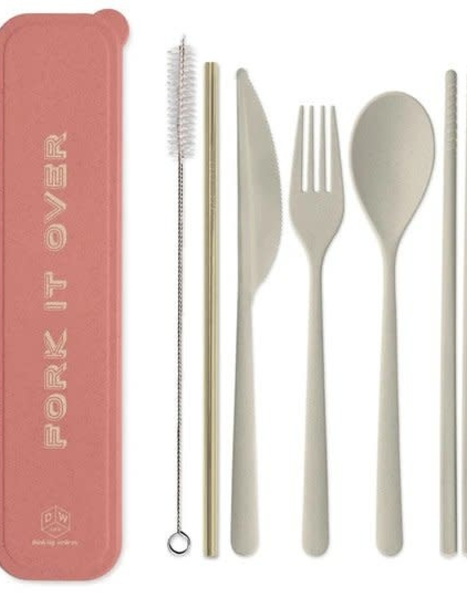 Designworks Ink ''Fork it Over'' Portable Flatware set w/Gold Straw - Coral