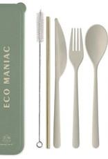 Designworks Ink Ensemble d'Ustensils Portatifs ''Eco Maniac'' avec Paille Dorée - Forêt