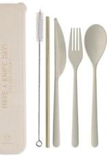 Designworks Ink ''Have aKnife day!'' - Portable Flatware set w/Gold Straw - Natural