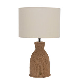 Fiber Rope Table Lamp w/Cotton Shade